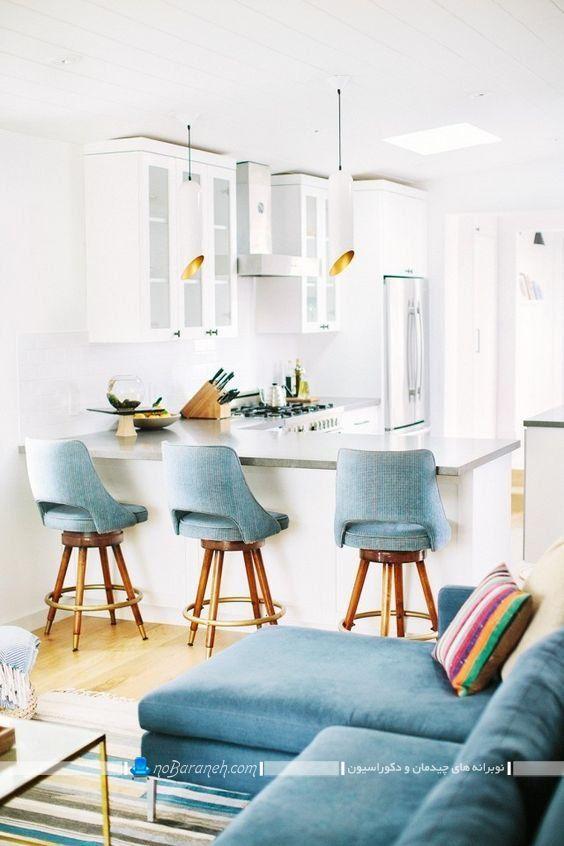 صندلی اپن چوبی با نشیمن پارچه ای شیک مدرن زیبا طرح فانتزی پشتی دار با تکیه گاه با عکس. ساده ترین مدل میز اپن
