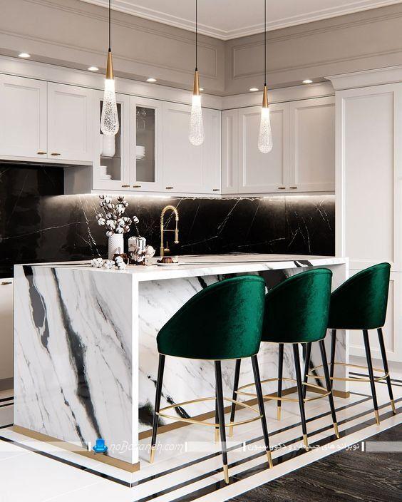 صندلی اپن چوبی فانتزی مدرن شیک با رویه مخمل سبز رنگ ، مدل میز اپن سفید سیاه طرح مرمر سنگی