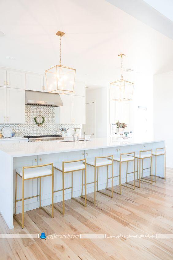 عکس مدل صندلی پشت اپن با طراحی فانتزی شیک مدرن طلایی رنگ برای آشپزخانه سلطنتی و میز جزیره.