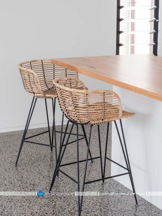 عکس مدل صندلی اپن آشپزخانه چوبی و حصیری با پایه های فلزی ظریف شیک فانتزی مدرن.