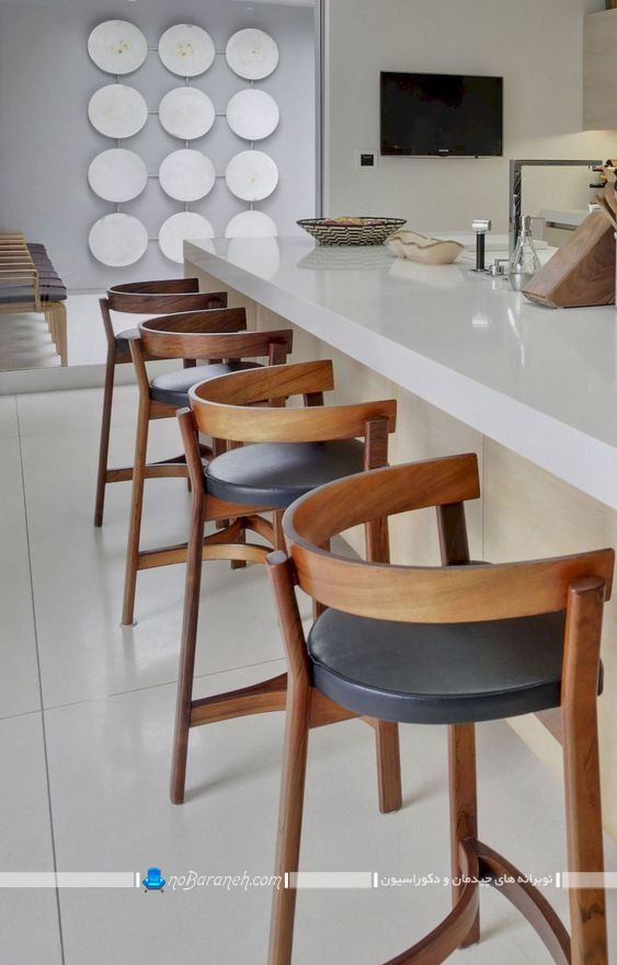 بهترین صندلی اپن برای آشپزخانه مدرن. عکس مدل جدید صندلی اپن چوبی و چرمی با طراحی جدید مدرن فانتزی.