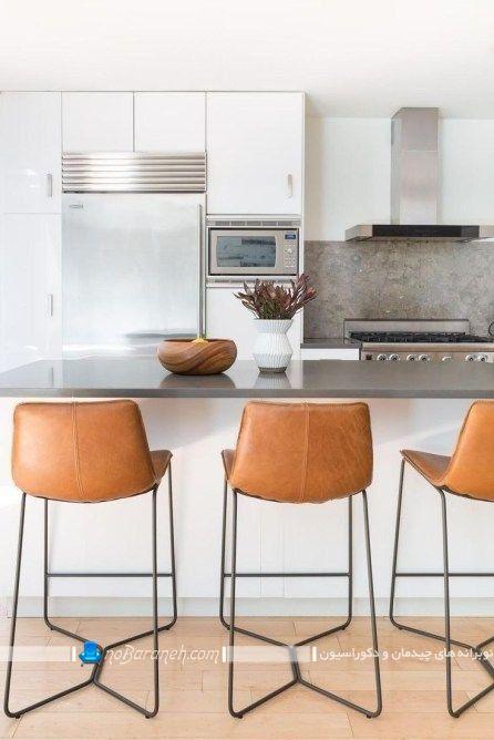 بهترین صندلی اپن آشپزخانه با جنس چرمی و مدل پایه های فلزی ظریف نازک.