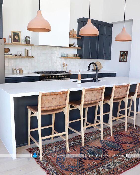عکس مدل صندلی چوبی اپن طرح حصیری برای میز جزیره و اپن با طرح و مدل شیک مدرن فانتزی.