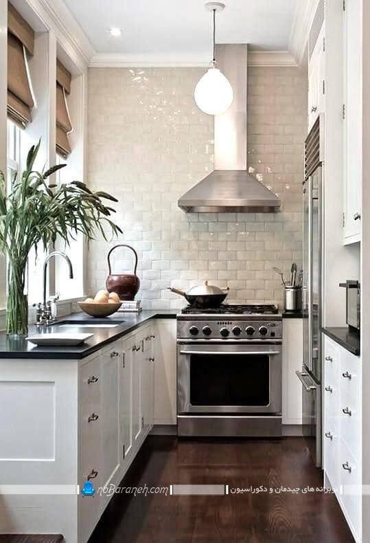 کاشی دیواری و دکوراتیو آشپزخانه کوچک ، طراحی دکوراسیون آشپزخانه کوچک با رنگ سفید و سیاه
