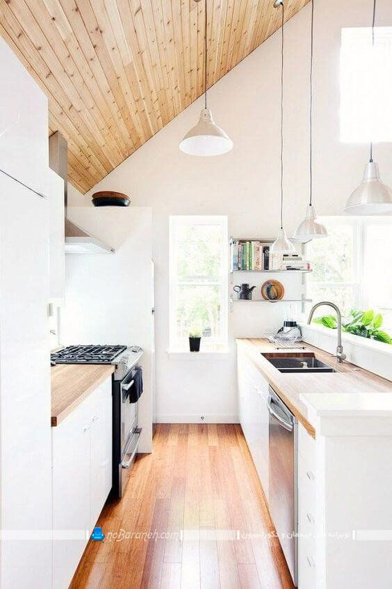 دکوراسیون چوبی آشپزخانه کوچک، کفپوش و سقف چوبی آشپزخانه ، صفحه چوبی کابینت آشپزخانه