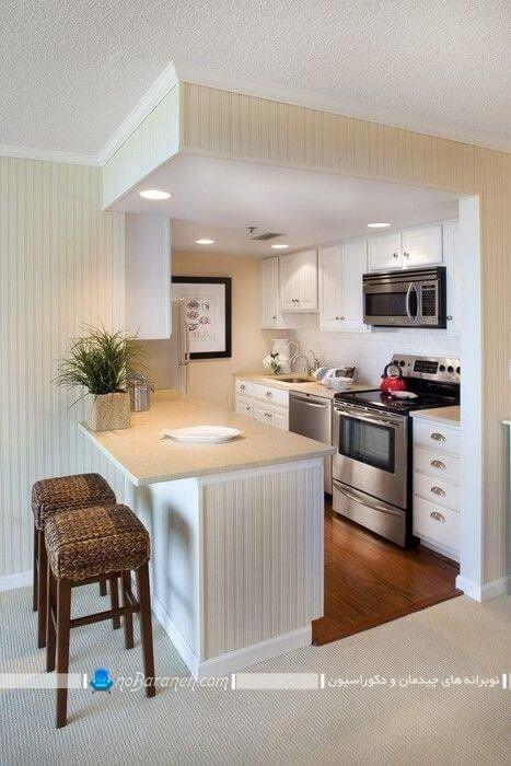 نورپردازی آشپزخانه اپن کوچک ، چراغ تو کار برای سفی کاذب آشپزخانه ، نورپردازی شیک و ساده و مدرن آشپزخانه اپن