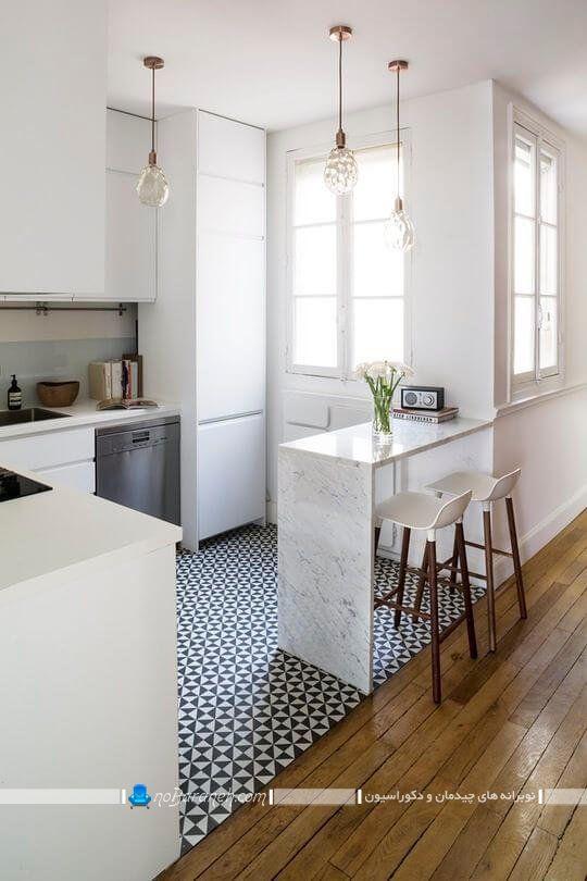 میز اپن مناسب آشپزخانه کوچک ، اپن کوچک آشپزخانه با طراحی شیک و ساده به همراه صندلی اپن چوبی پایه بلند مدرن