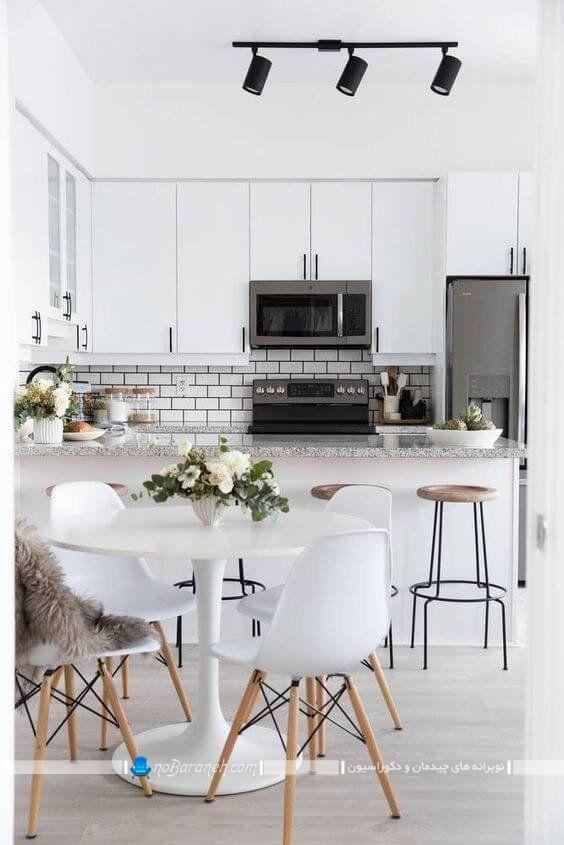 چیدمان میز در کنار آشپزخانه ، مدل میز ناهارخوری کوچک برای چیدمان در کنار آشپزخانه ، دکوراسیون و دیزاین آشپزخانه با رنگ سفید