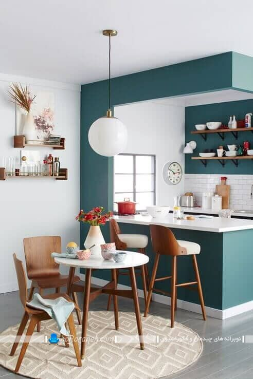 دکوراسیون آشپزخانه کوچک با رنگ های شاد ، دیزاین آشپزخانه با سبز و سفید ، آشپزخانه کوچک اپن با طراحی مدرن