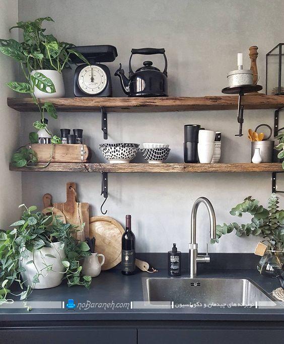 دیزاین آشپزخانه کوچک با شلف دیواری چوبی در طرح های فانتزی مدرن شیک. مدل های نصب شلف و طبقه چوبی در آشپزخانه برای تزیین و دکوراسیون به همراه عکس.