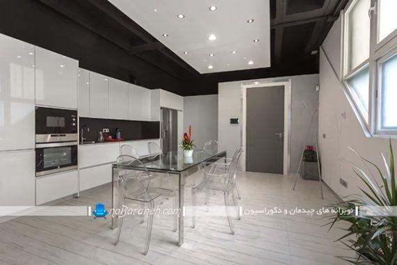 دکوراسیون آشپزخانه کوچک با میز ناهارخوری شیشه ای ارزان قیمت 6 شش نفره به همراه تصویر محصول. مدل کابینت های گلاس سفید رنگ براق برای آشپزخانه بسته.