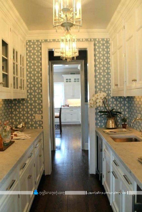 دکوراسیون و چیدمان آشپزخانه کوچک به شکل شیک و زیبا. مدل های نصب کابینت در آشپزخانه کشیده با عرض طول کم.