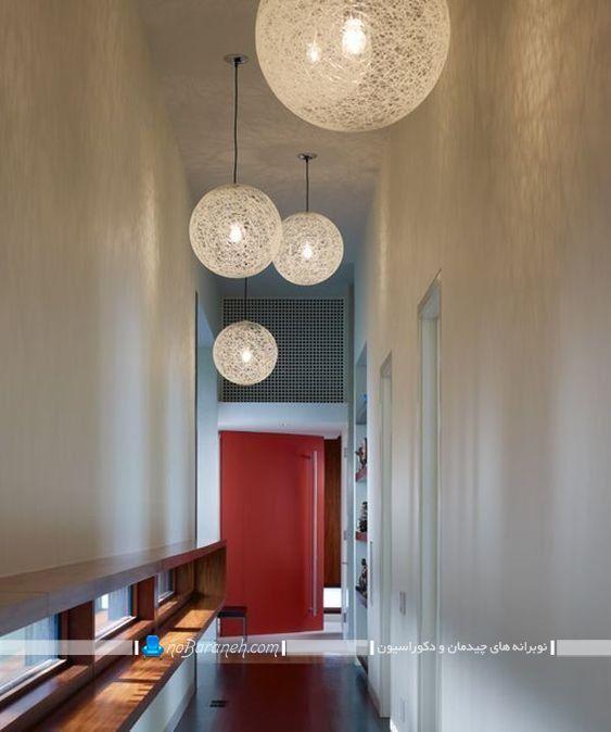 چراغ سقفی فانتزی برای نورپردازی هال و راهرو ، چراغ و لوستر سقفی برای تزیین راهرو خانه ، تزیین راهرو با لوستر سقفی فانتزی