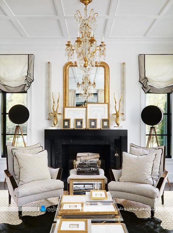 دیزاین فرانسوی اتاق پذیرایی و نشیمن به سبک کلاسیک و سنتی زیبا و شیک. تزیین اتاق پذیرایی با رنگ طلایی و با کمک آینه دیوار و لوستر طلایی رنگ. مدل مبلمان راحتی شیک برای چیدمان در اتاق پذیرایی سلطنتی.
