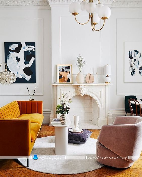 چیدمان و دیزاین اتاق پذیرایی به سبک فرانسوی و کلاسیک ، مدل جدید چیدمان و دیزاین اتاق پذیرایی