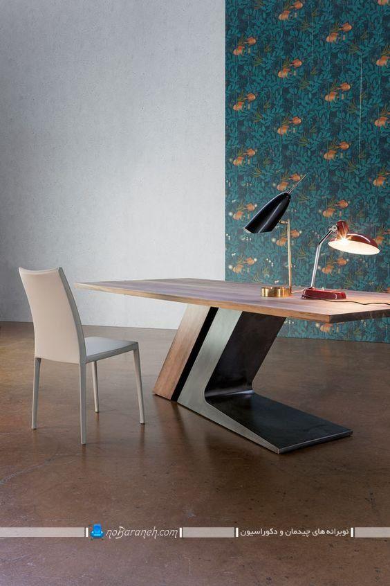 میز تحریر چوبی با پایه های فانتزی ، میز تحریر فانتزی و ظریف برای دکوراسیون مدرن، طرح و مدل جدید میز تحریر