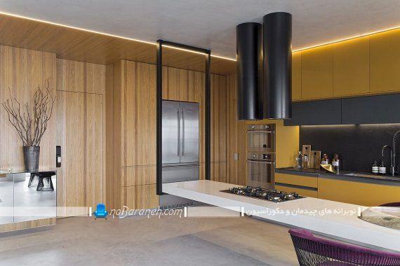 طراحی دکوراسیون آشپزخانه با رنگ های زیبا ، میز جزیره آشپزخانه مدرن ، میز اپن مدرن و شیک