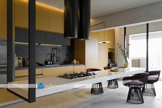 کابینت آشپزخانه زرد ، میز جزیره ای مدرن ، میز جزیره آشپزخانه مدرن