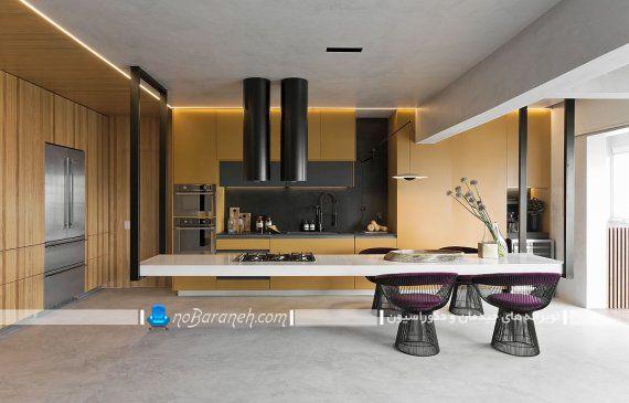 دکوراسیون آشپزخانه با زرد و خاکستری ، میز جزیره مدرن آَشپزخانه مدرن و جدید