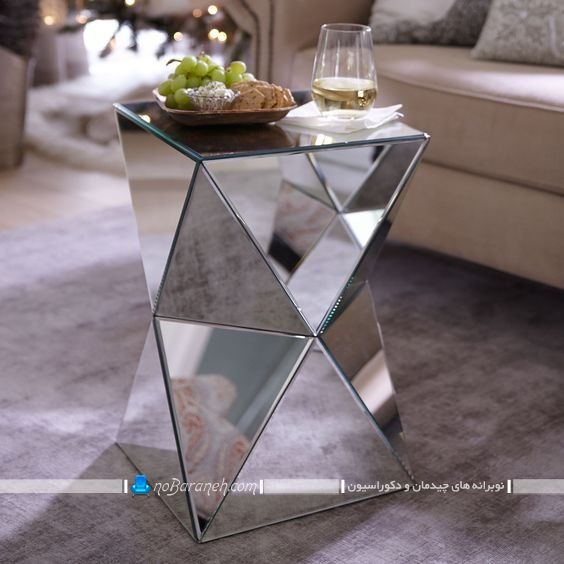 میز عسلی آینه کاری شده با طرح مثلثی ، مدل جدید میز عسلی فانتزی و مدرن کوچک