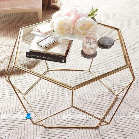 میز عسلی و جلو مبلی گرد شیشه ای با اسکلت فلزی