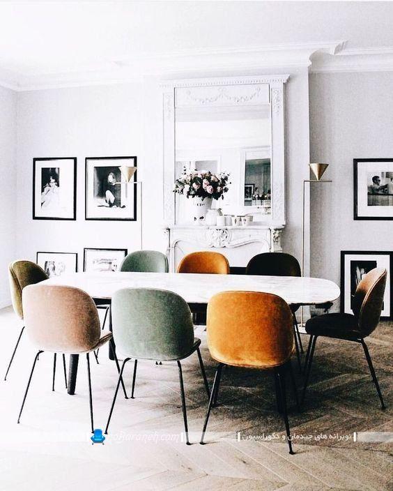 میز و صندلی ناهار خوری شیک مدرن با طرح و مدل جدید ، میز ناهارخوری بیضی شکل با صندلی تخم مرغی