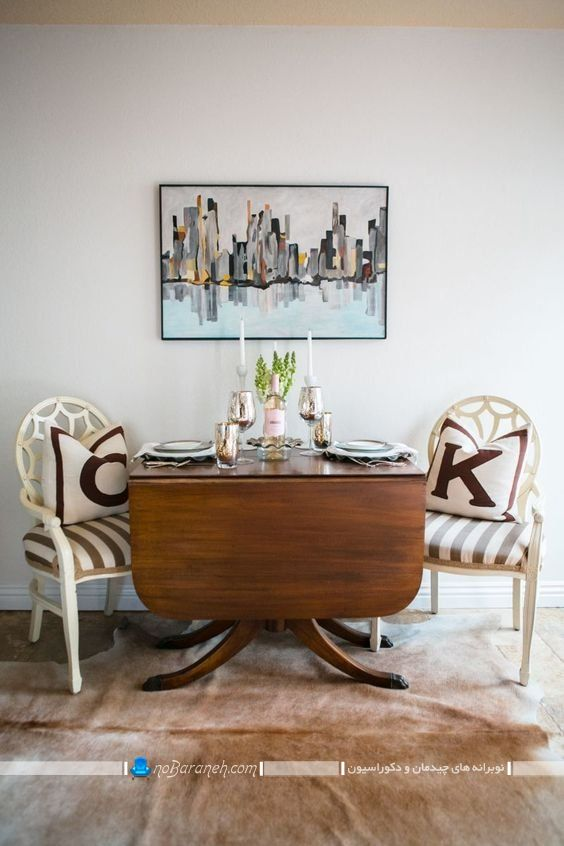 میز ناهار خوری کم جا و تاشو دو نفره چوبی با طراحی جدید و شیک و مدرن، میز نهارخوری چوبی کلاسیک 2 دو نفره با قابلیت تبدیل به 4 چهار نفره