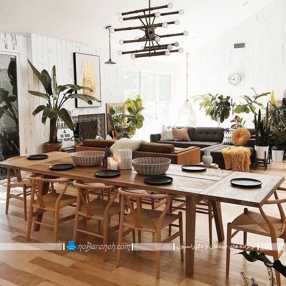 میز ناهار خوری جدید چوبی هشت 8 نفره کشیده ، مدل جدید میز ناهارخوری مدرن و شیک با صندلی های فانتزی / عکس