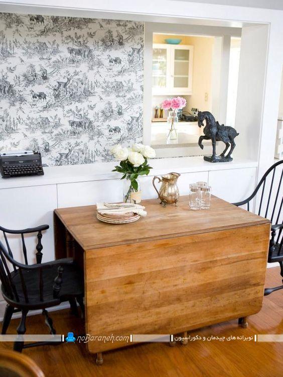 میز ناهار خوری کم جا تاشو با قابلیت تا شدن و جمع شدن به شکل کمجا، میز نهارخوری کم جا برای منازل کوچک به شکل دو و چهار نفره، صندلی کلاسیک برای میز ناهارخوری با رنگ سیاه