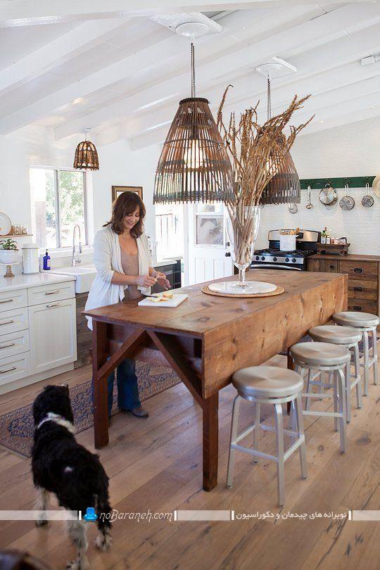 میز ناهار خوری کوچک چوبی هشت 8 نفره برای آشپزخانه با طرح کلاسیک ، صندلی نهارخوری فلزی بدون پشتی و نیمکتی ارزان قیمت