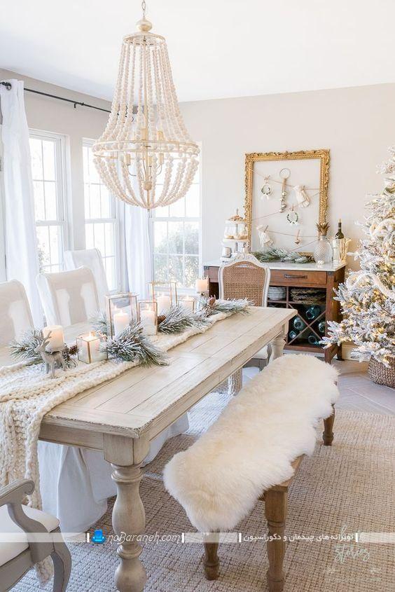 میز ناهار خوری کلاسیک چوبی سلطنتی با رنگ سفید ، عکس مدل جدیدترین شیک ترین میز ناهارخوری مجلل، لوستر سلطنتی سقفی برای میز نهارخوری نیمکت دار