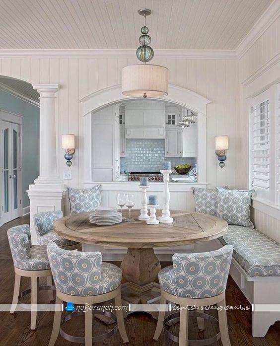 صندلی میز ناهار خوری برای میزهای گرد و دایره شکل ، صندلی نیمکتی کنجی برای چیدمان میز نهارخوری در گوشه و کنج منزل، عکس مدل میز ناهارخوری کمجا 8 تا 10 نفره