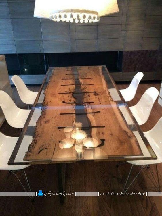 عکس ميز ناهار خوري شیشه ای و چوبی مدرن با صندلی های پلاستیکی ارزان قیمت ، صندلی سفید رنگ پلاستیکی با پایه فلزی ارزان قیمت چیدمان در کنار میز نهارخوری