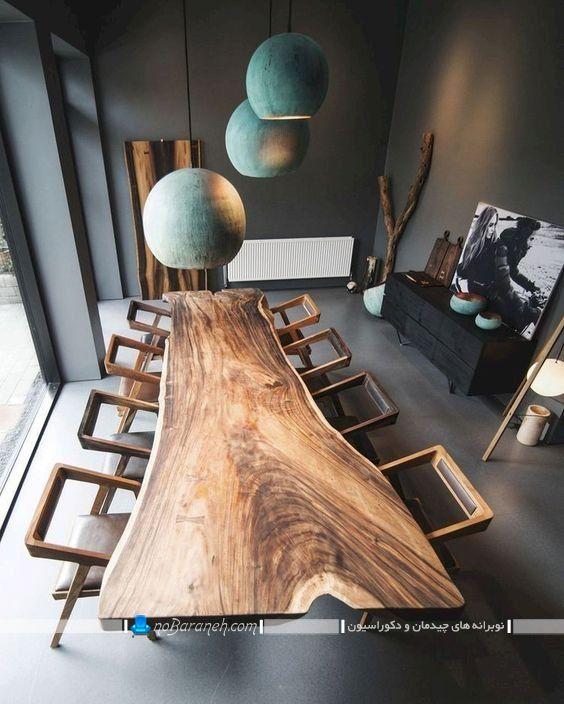 مدل میز ناهار خوری بزرگ چوبی با صندلی فانتزی و شیک ، جدیدترین مدل میز و صندلی ناهارخوری با طرح چوب برای دکوراسیون فانتزی اتاق ناهارخوری