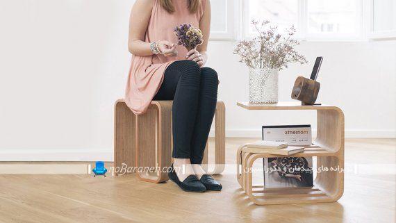 مدل مبلمان چند منظوره و کم جا با جنس چوبی