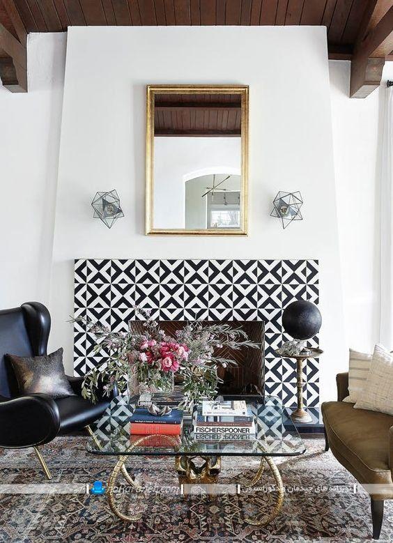 طراحی و تزیین دیوار شومینه هیزمی با سنگ و کاشی دکوراتیو تزیینی شیک مدرن به سبک جدید.