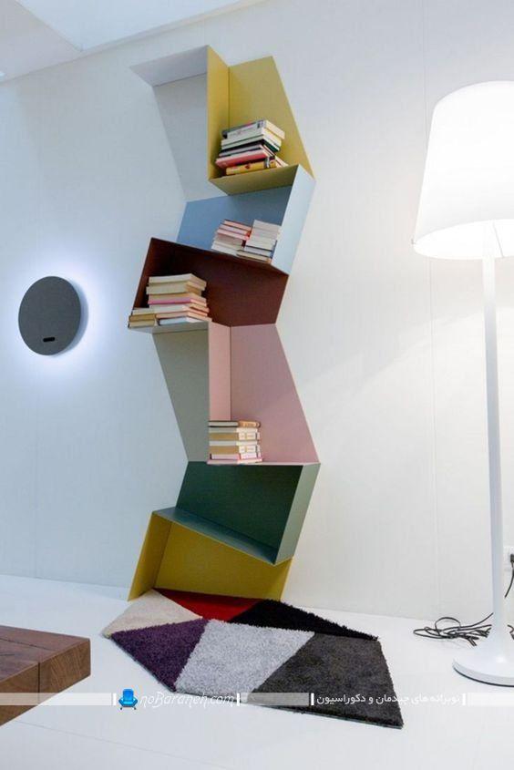 کتابخانه خانگی با طراحی فانتزی ، کتابخانه فانتزی با رنگ آمیزی شاد و زیبا