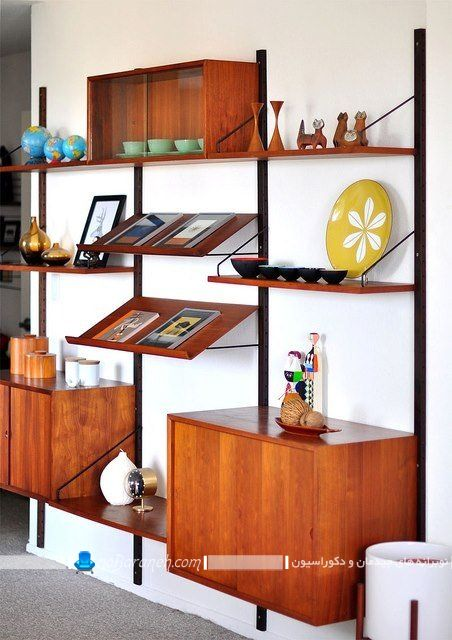 ویترین و بوفه تزیینی و چوبی خانگی ، کتابخانه دیواری کلاسیک و شیک ، کتابخانه چوبی دیواری