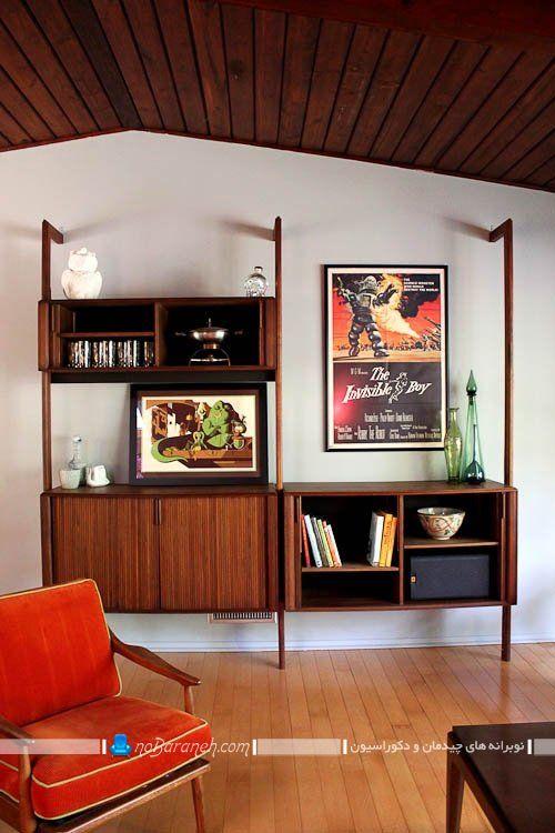 قفسه و طبقه های چوبی طرح کلاسیک ، مدل کتابخانه کلاسیک و شیک خانگی