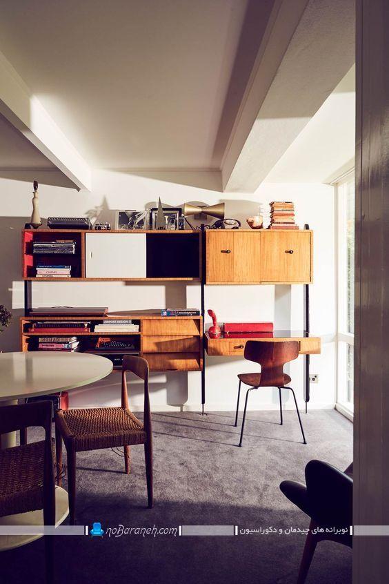 بوفه و دکور چوبی کلاسیک و شیک ، مدل کتابخانه دیواری ساده ، کتابخانه دیواری کلاسیک ،