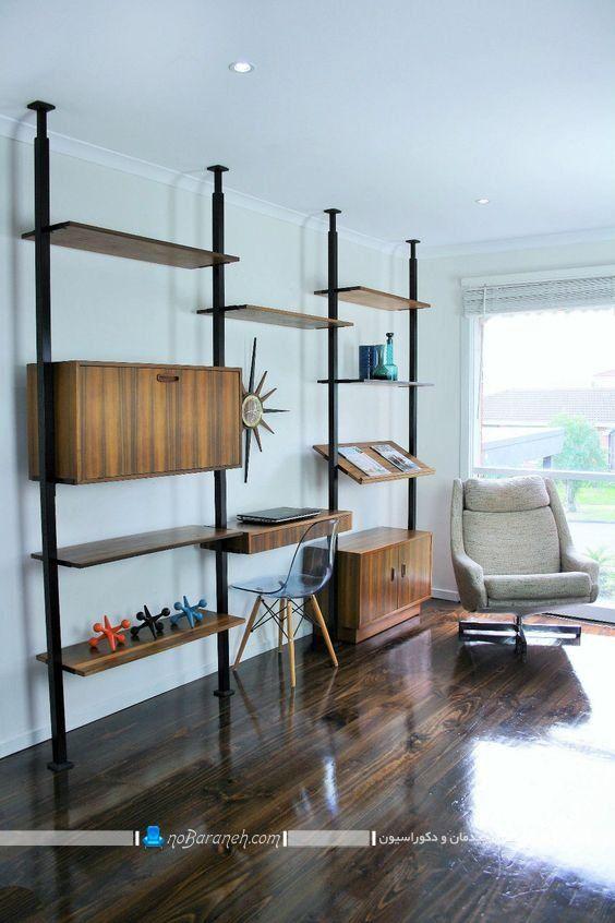 دکور و بوفه چوبی کلاسیک و ساده شیک ، کتابخانه دیواری شیک و کلاسیک ، کتابخانه چوبی و ساده خانگی