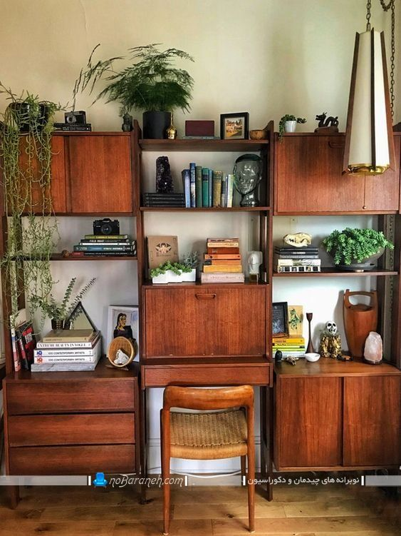 بوفه چوبی ساده و کلاسیک ، کتابخانه چوبی خانگی و کلاسیک شیک ، مدل کتابخانه دیواری کلاسیک