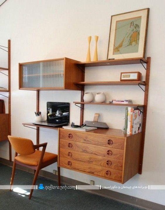 بوفه و ویترین دیواری دارای میز تحریر ، کتابخانه چوبی و دیواری کلاسیک و شیک ، مدل کتابخانه خانگی چوبی با قابلیت نصب به دیوار