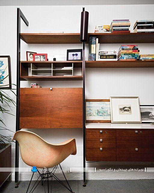 کمد و بوفه چوبی ساده و کلاسیک طرح معاصر ، مدل جدید کتابخانه خانگی شیک و مدرن چوبی و فلزی