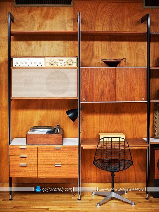کمد چوبی و کلاسیک برای اتاق پذیرایی ، مدل کتابخانه و ویترین چوبی کلاسیک و شیک