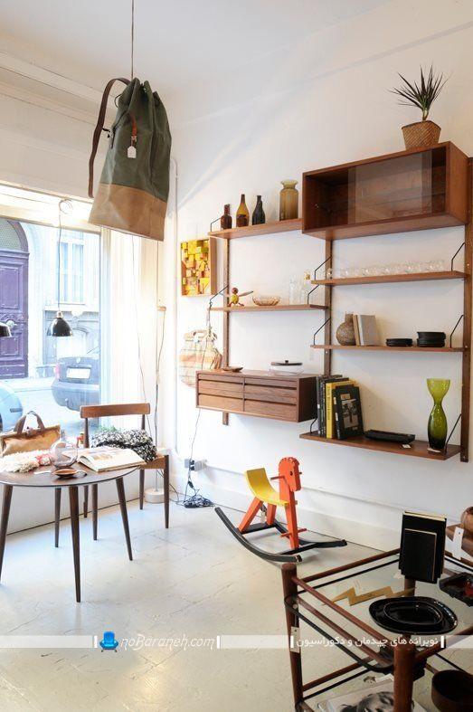 بوفه و دکور دیواری خانگی ، مدل جدید کتابخانه چوبی و خانگی کلاسیک
