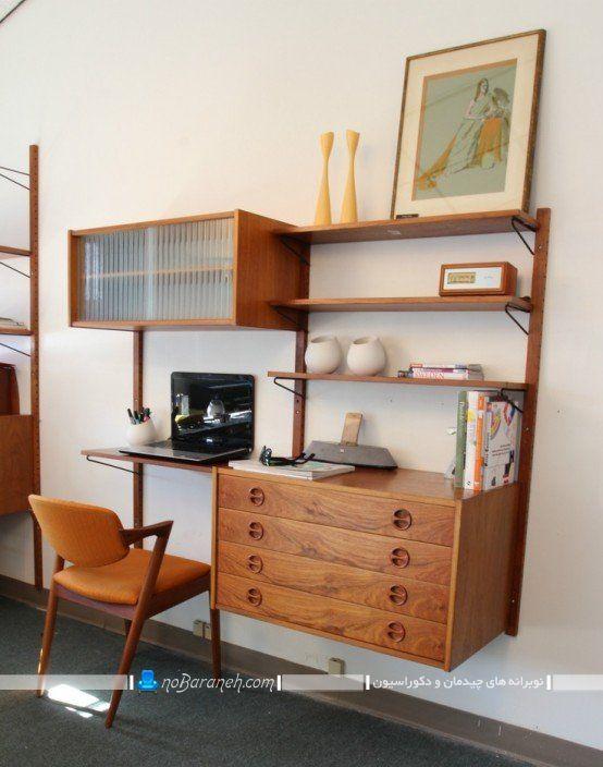 میز تحریر و شلف های چوبی کلاسیک ویترین دار ، کتابخانه دیواری کلاسیک