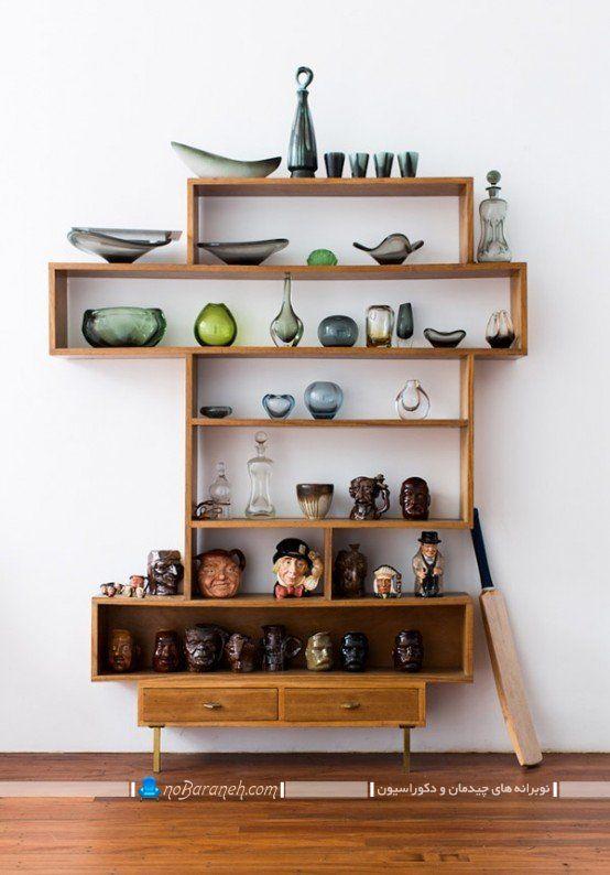 مدل ویترین کلاسیک برای چیدمان تزیینات عتیقه ، مدل ویترین چوبی خانگی
