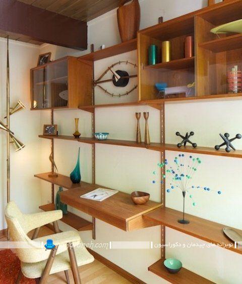 محصول چوبی چند کاره دارای شلف و میز تحریر ، مدل کتابخانه خانگی دیواری و کلاسیک