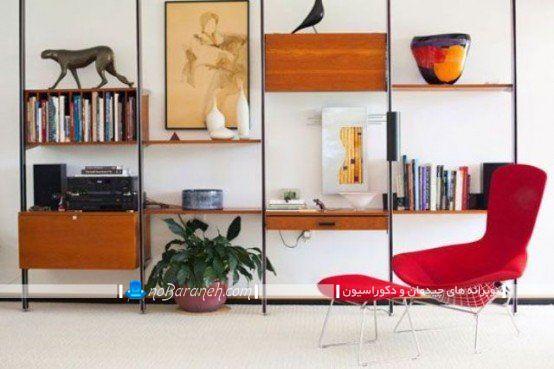 کتابخانه و قفسه های چوبی برای اتاق پذیرایی ، مدل کتابخانه خانگی دیواری